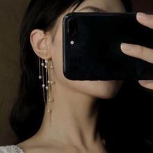 Fashion Korean Pendant Earrings Alloy Long chain Fringe Pearl Earrings Temperament Women's Accessories Wedding Party Gifts stylish faux pearl fringe earrings