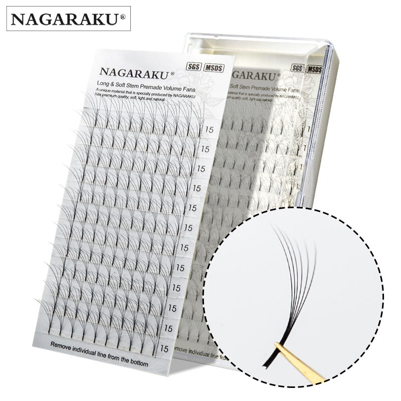 NAGARAKU eyelashes mink makeup 12 Lines 3D-6D Premade  Fans Russian Volume Eyelash Black Faux Mink Premium Eyelash Application