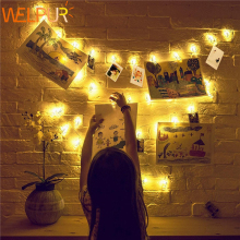Lamp String-Lights Battery Photo-Clip LED Holiday Christmas Wedding-Decoration Party