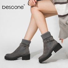 BESCONE Fashion Women Boots Basic Solid Buckle Handmade Square Heel Shoes Casual Winter Round Toe Comfortable Ladies Boots BC241 цены онлайн