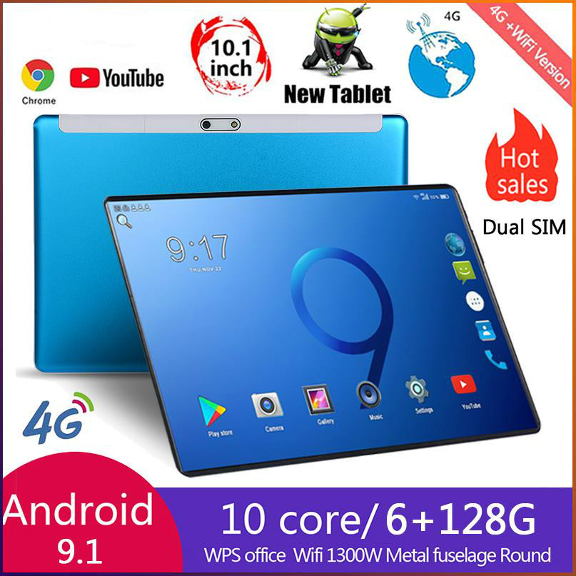2021 Tablet Android 8.0 Octa Core 10.1 inch Tablet PC 6GB RAM 128GB ROM 8.0MP WIFI A-GPS 4G LTE 2.5D Tempered Glass IPS 1280x800