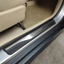 For Auto Hyundai Kona Encino Kauai 2018 2019 Accessories Stainless Steel Door Sill Pedal Scuff Plate Covers Car Stickers Styling car door sill scuff plate for hyundai kona kauai 2018 stainless steel door sill protector sticker for new kona kauai