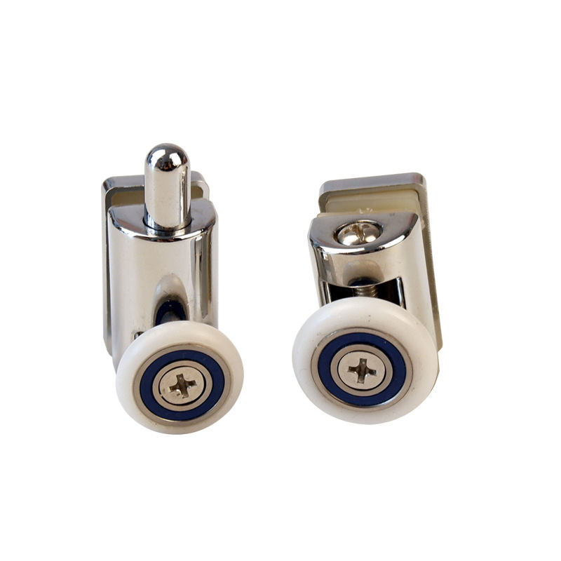 2PCS Shower Room Square Zinc Alloy Double POM Wheel Bathroom Sliding Door Mute Pulley Shower Room Accessories Door Rollers