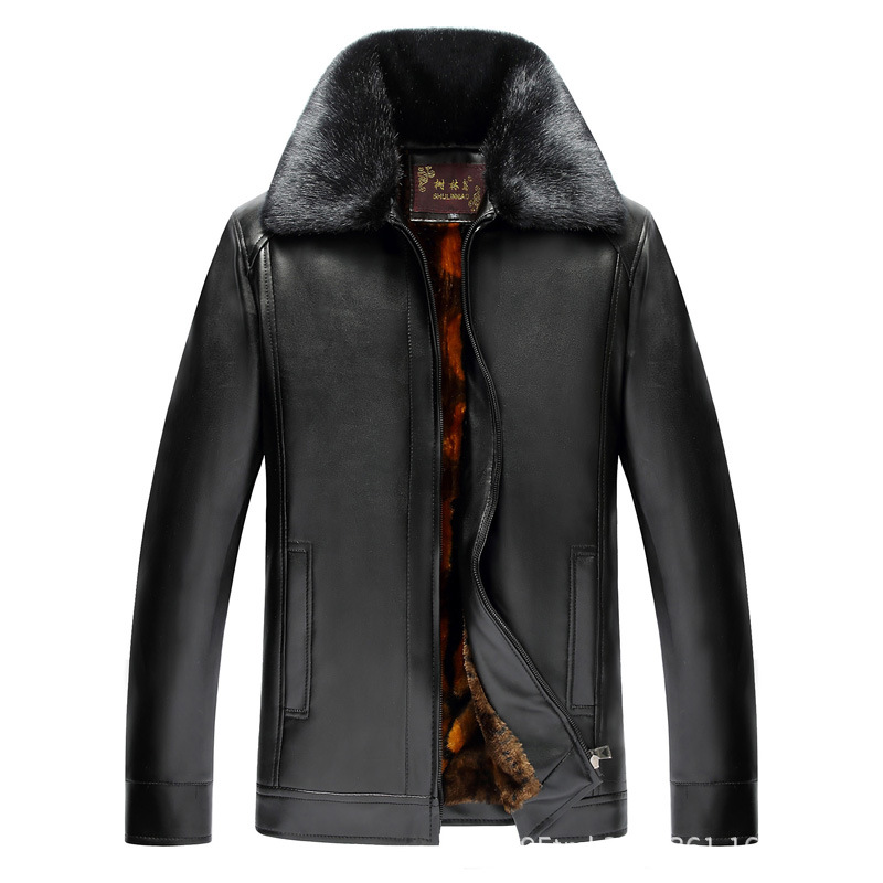 Middle-aged Men Brushed And Thick Large Fur Collar Warm Leather Coat Coat