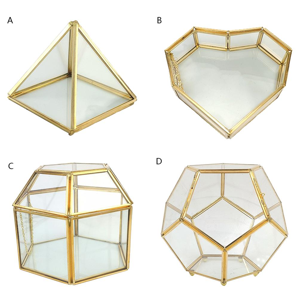 Geometrical Clear Glass Jewelry Box Gem Trinket Case Tabletop Jewelry Ring Display Case Treasure Necklace Storage Box Organizer
