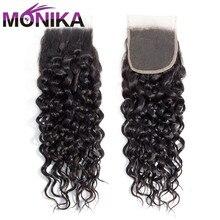 Eureka cabelo fechamento brasileiro, onda de água fechamento 4x4 renda livre/médio/3 partes não remy ondulado cabelo humano fechamento