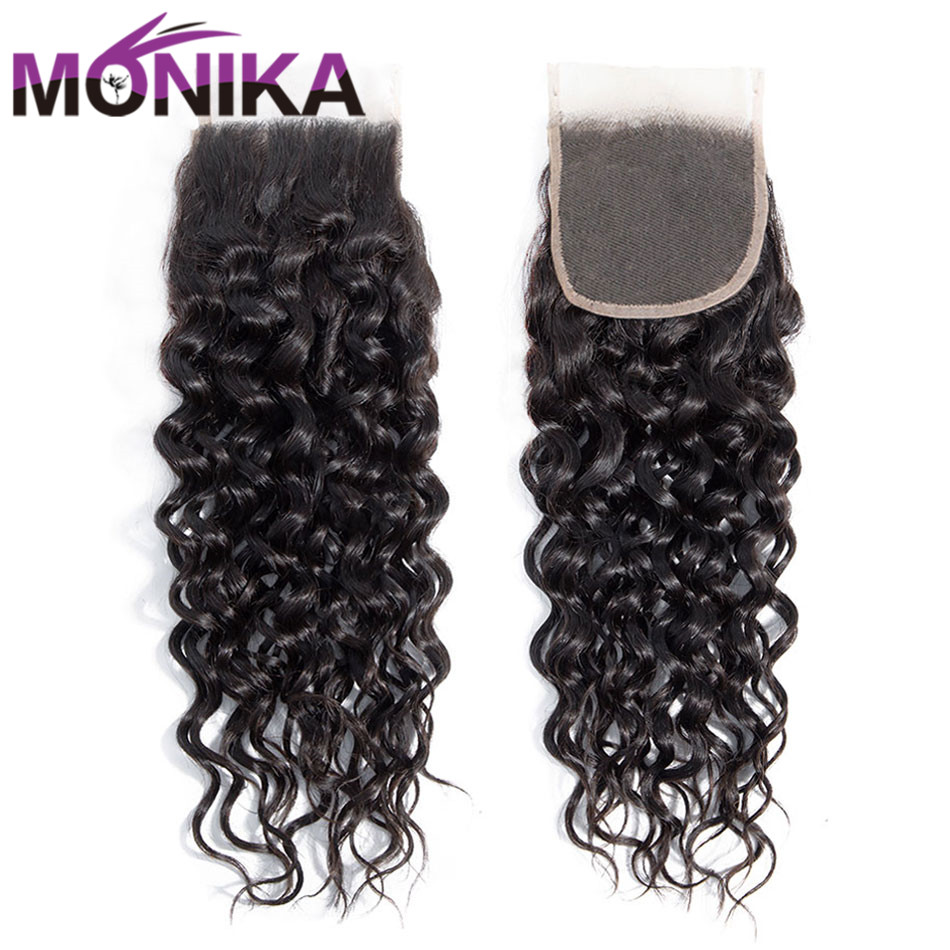 Monika Hair Closures Brazilian Water Wave Closure 4x4 Lace Closure Free/Middle/Three Part Non-Remy Wave Human Hair Closure