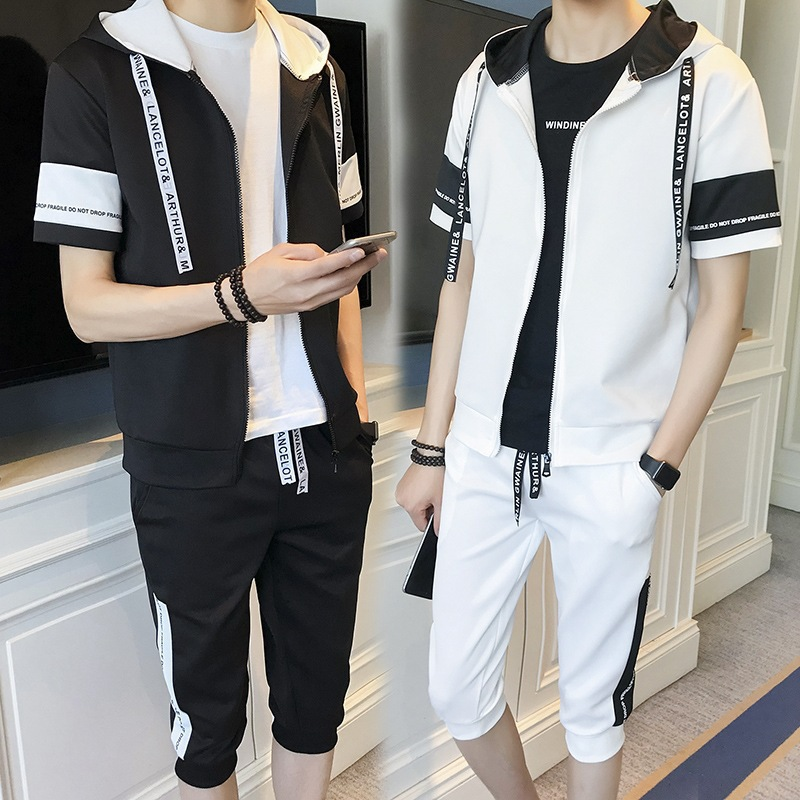 Spring Summer MEN'S Hoodie Thin Short Sleeve Set Teenager Students Sports Clothing Men's Korean-style Trend Two Pieces A Set