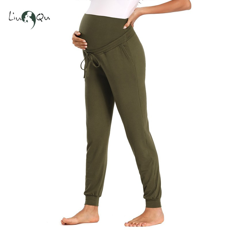 Maternity-Active-Pants Sweatpants Jogger Pregnant-Clothes Women Yoga with Pockets Drawstring