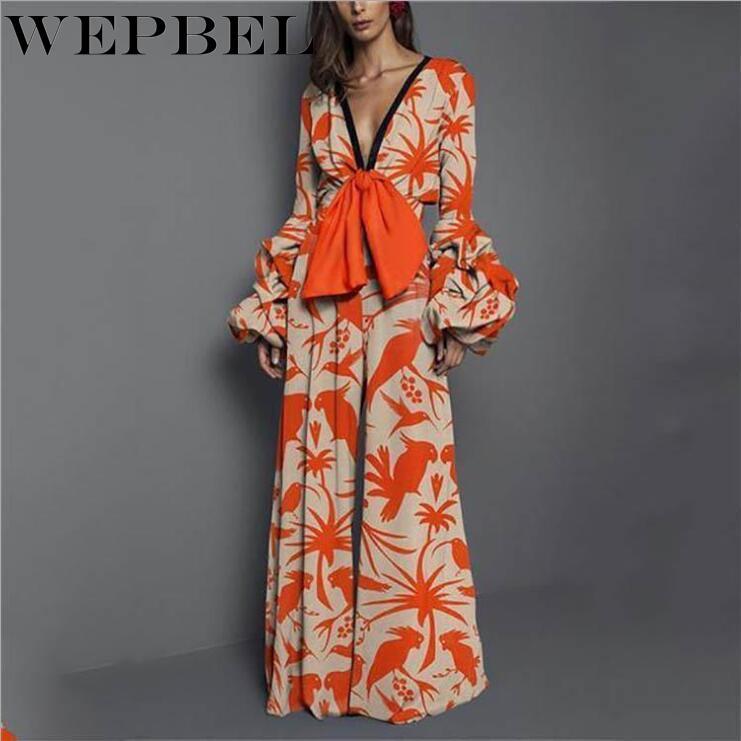 WEPBEL Fashion Boho Bow Jumpsuit Spring Autumn Deep V Neck Print High Waist Long Sleeve Maxi Wide Leg Jumpsuits