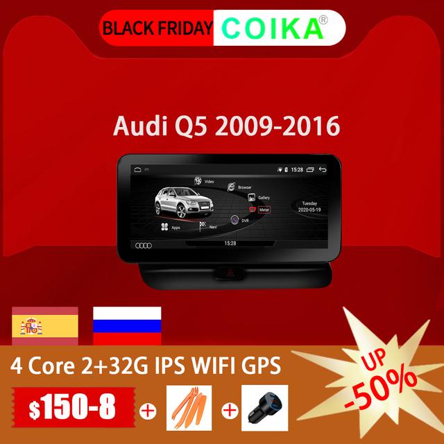 """COIKA 10.25 """"Android 10,0 System Auto GPS Navi Radio Für Audi Q5 2009 2017 IPS Touch Screen Stereo google WIFI BT Musik SWC 2 + 32G"""