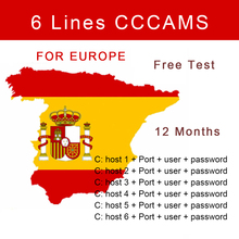 6lines cccam spain server portugal cccam line for watch the show satellite tv receiver cline dvb s2 set top box for 1 year European TV satellite receiver Cccam 3 line support 1 year Spain Portugal Germany Poland Italy stable cccam clines free 24h test