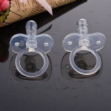 1PCS Silicone Gel Simple Clear Transparent Safe Baby Care Infant Toddler Pacifier Flat Round Nipple(China)