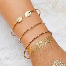 3 шт/компл новые открытые золотые браслеты манжеты и обручи