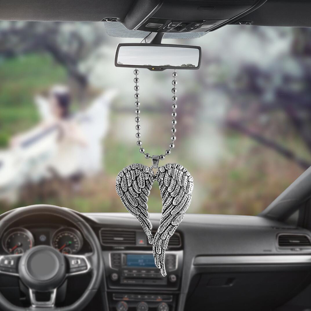 Car Pendant Angel Wing Rearview Mirror Decoration Hanging Charm Ornaments Automobiles Interior Cars Accessories Holiday Gifts