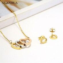 XUANHUA conjuntos de joyas de acero inoxidable gargantilla corazón collar y pendiente conjunto cadena mujer Vogue 2019 accesorios de joyería