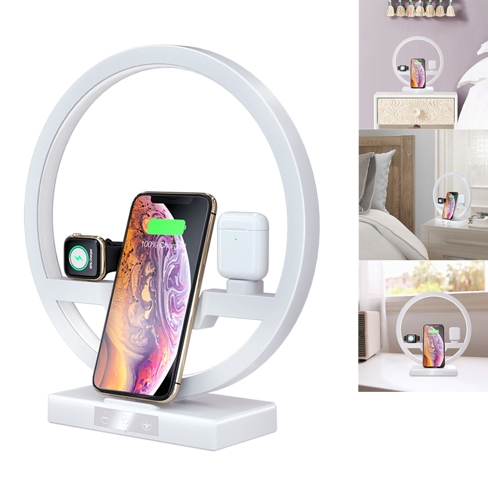 3 IN 1 QI Fast Wireless <font><b>Charger</b></font> Dock for iPhone 11 Pro Max for Apple Watch iWatch 1 2 3 4 <font><b>5</b></font> Airpods <font><b>Charger</b></font> Holder LED Lamp 2019 image