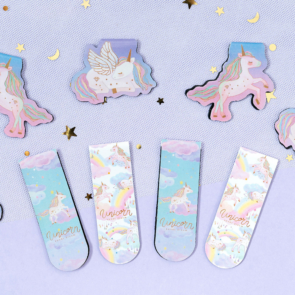 2pcs/pack Kawaii Universal Unicorn Magnet Bookmark Book Mark Paper Clip School Office Supply Gift Stationery