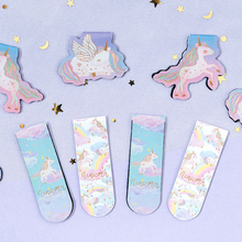 2pcs/pack Kawaii Universal Unicorn Magnet Bookmark Book Mark Paper Clip School Office Supply Gift Stationery jianwu marble style metallic color paper clip apple magnet ring fashion business office lady style office stationery set 28mm
