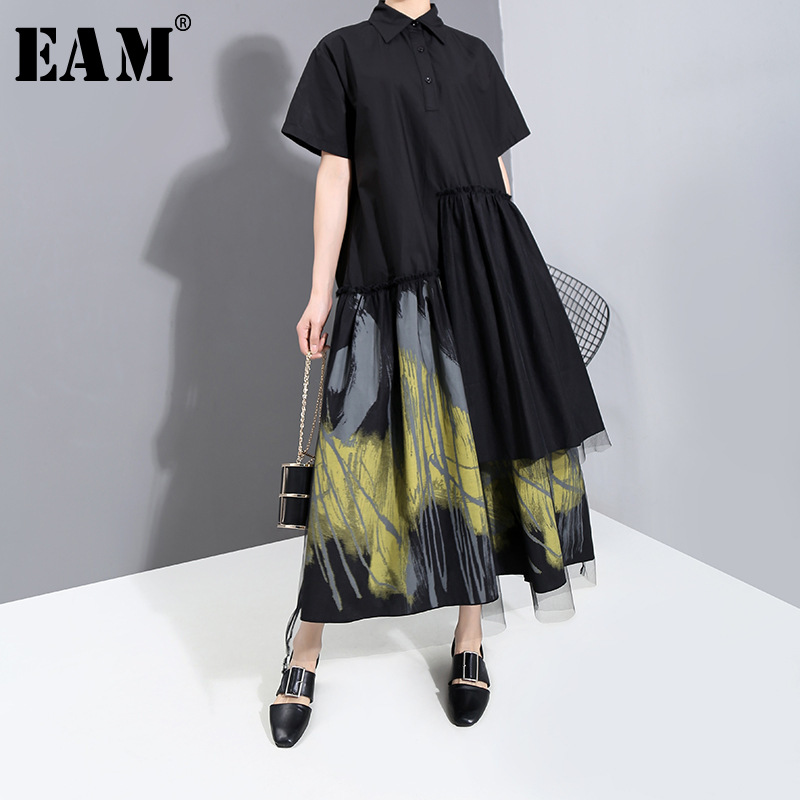 [EAM] Women Black Pattern Printed Mesh Big Size Shirt Dress New Lapel Short Sleeve Loose Fit Fashion Spring Summer 2020 1T862