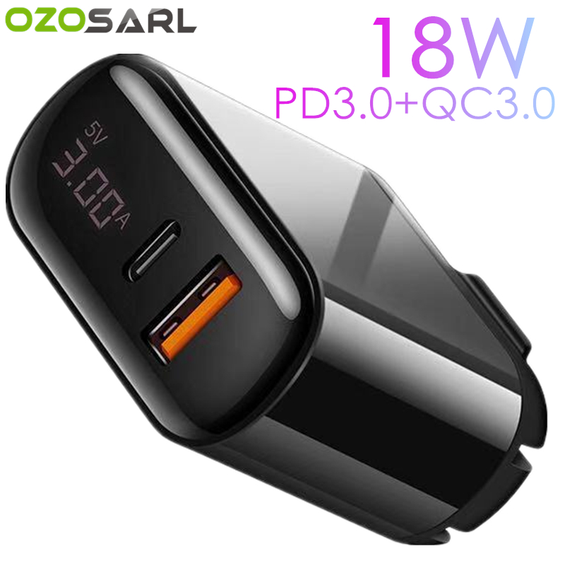 18W PD3.0 QC3.0 LED Display Universal Cellphone Power Adapter PD <font><b>Charger</b></font> Travel Wall <font><b>Charger</b></font> for iPhone Samsung iPad Xiaomi image