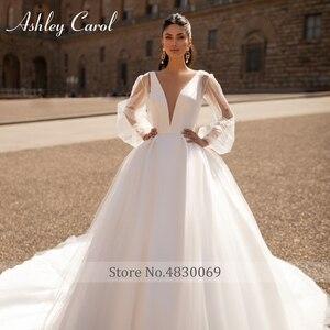 Image 5 - Ashley Carol Satin A Line Wedding Dress 2020 Sexy V neck Backless Shining Puff Sleeve Vintage Wedding Gowns Vestido De Noiva
