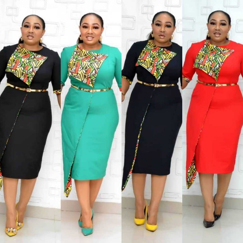 2020 New Fashion Office Dresses Style Summer Autumn African Women Beauty Plus Size Mid-Calf Dress African Dresses For Women