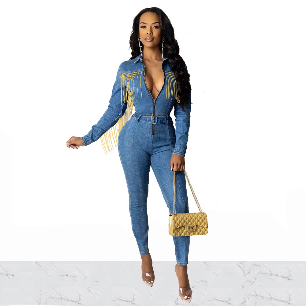 Women Turn-Down Collar Zipper Long Sleeve Slim Jumpsuits Autumn Bodycon Denim Romper Fashion Tassel Overalls With Sashes