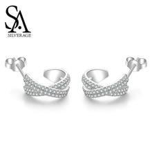 SA SILVERAGE Korea Simple Ins Tremella Button Female Earings Fashion Jewelry 2019 Zircon X Series S925 Sterling Silver Earrings