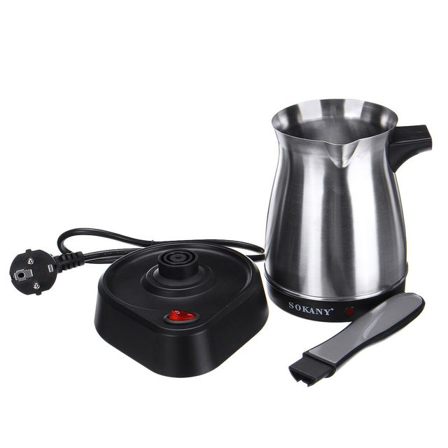 220V Electric Coffee Machine Stainless Steel Portable Greek Turkish Coffee Maker Pot Electric Moka Pot Home Office Coffee Kettle 4