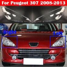 Couvercle de phare avant de voiture en verre, pour Peugeot 307 2008 2013
