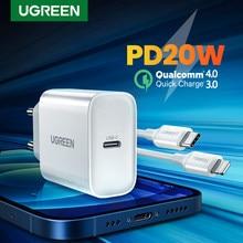 Ugreen pd carregador 20w qc4.0 qc3.0 usb tipo c carregador rápido carga rápida 4.0 3.0 qc para iphone 12 pro xs 8 xiaomi telefone pd carregador