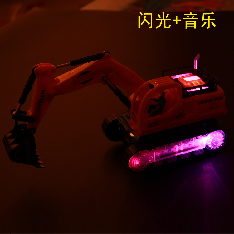 Electric Engineering Car Excavator With Music Shining Excavator Children Model Toy