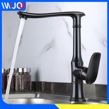 цена на Kitchen Faucet Black Brass Kitchen Sink Faucet 360 Degree Rotation Single Hole Cold and Hot Water Mixer Tap Deck Mounted Crane