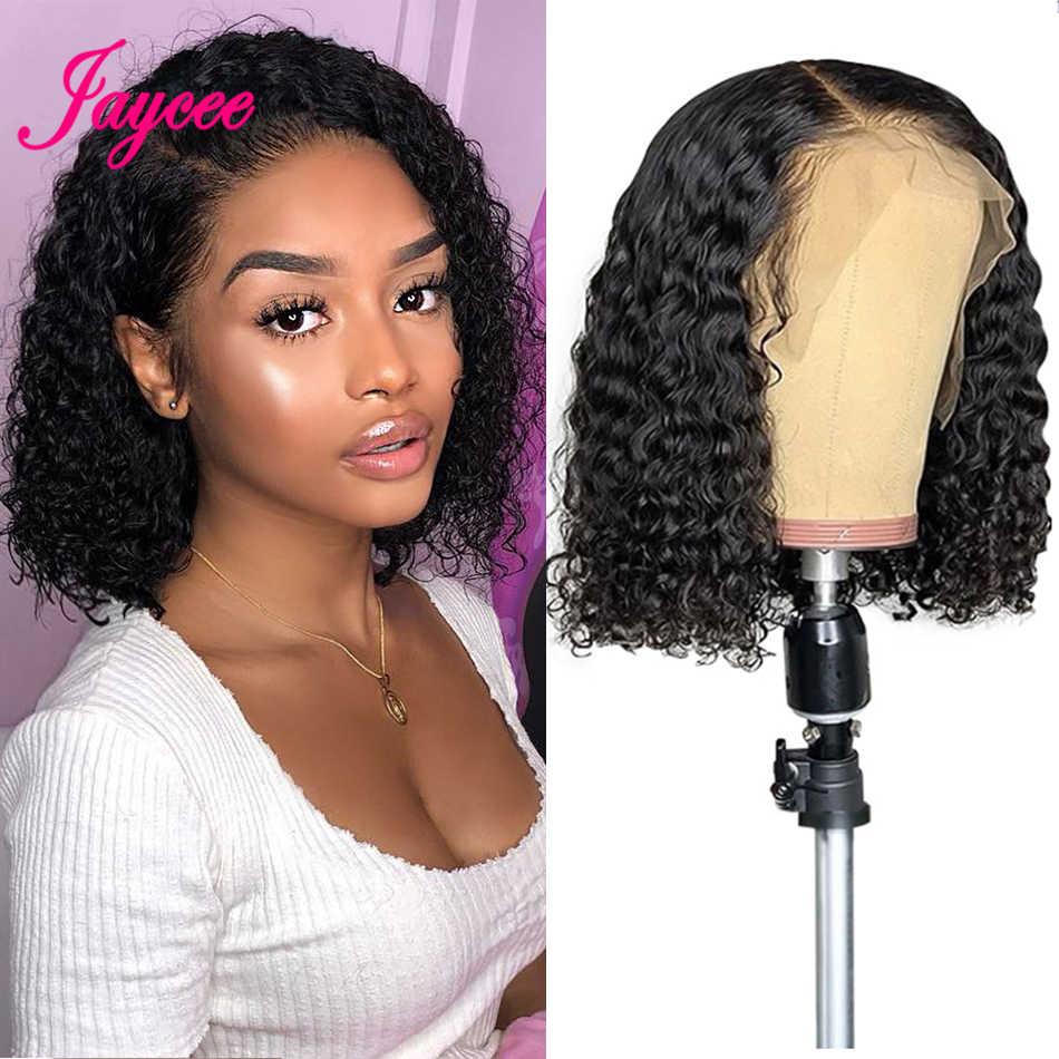 Brazylijski kręcone Bob peruka ludzki włos koronki przodu peruki 10 cal tanie peruka krótka 13x4 koronki Glueless dla kobiet cheveux humain perruque