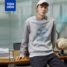TONLION 3 Colors Spring New Round Neck Pullovers Men Full Sleeve Print Mens Hoodie without Hat Sweatshirts Tops for Male 2020 OL