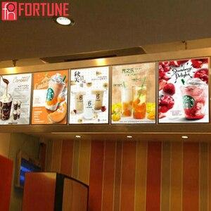 Image 5 - Marco LED para póster de restaurante, cajas de luz de publicidad, de vidrio templado, ultrafina, se puede colgar en la pared