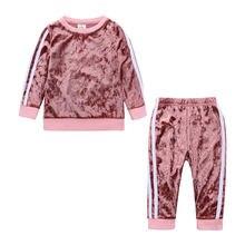 Ropa informal para niños y niñas, conjuntos de ropa para niña bebé, Tops de manga larga de terciopelo dorado + Pantalones, conjunto para niña