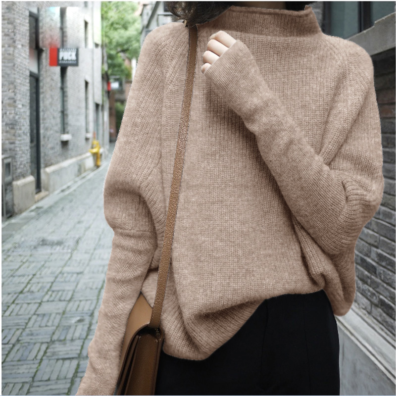 2019 New Winter Thick 100% Cashmere Sweater Women Boss Bat Sleeve Shirt Pullover Jumper Female Knitting Wool Fashion Sweaters