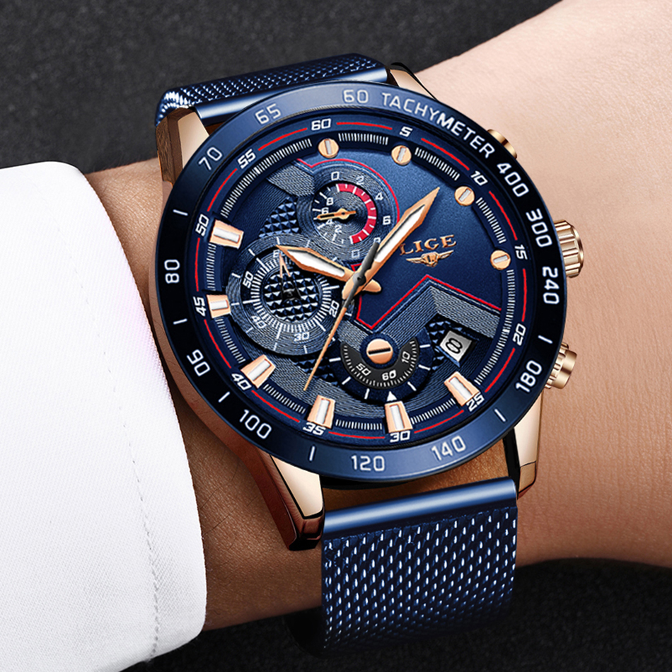 LIGE azul Casual malla Correa moda cuarzo oro reloj para hombre relojes marca superior reloj impermeable de lujo 6