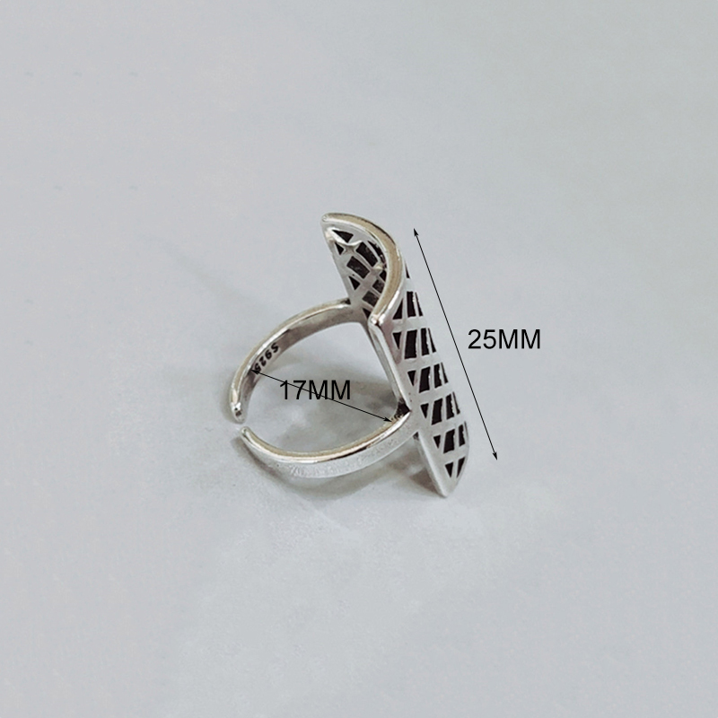 H0e3f4b4e019746b481580ac626ab40e5x - 925 Silver Opening Ring For Women Simple Adjustable Retro Hollow Out Shield Square  Jewelry Gift