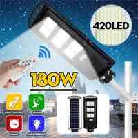 80W 140W 180W lampadaire solaire PIR détecteur de mouvement LED lampe de jardin extérieure avec télécommande