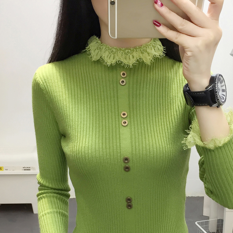 2019 Turtleneck Sweater Autumn And Winter New Lace Stitching Half Turtleneck Sweater Female Long-Sleeved Sweater White Black