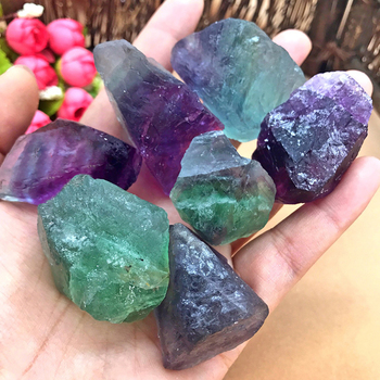 Creative Stlye Natural Fluorite Crystal Colorful Striped Fluorite Quartz Crystal Stone Point Healing Wand Treatment Stone image