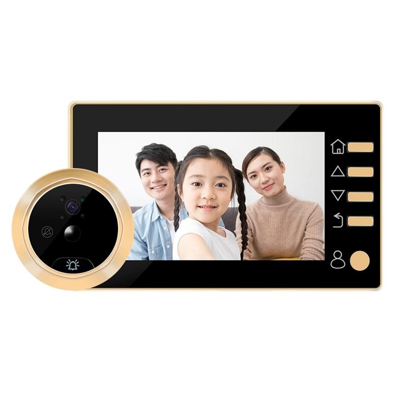 AMS-4.3 Inch Doorbell Viewer Digital Door Peephole Viewer Camera 1Mp Wireless Video Doorbell Ir Night-Vision Motion Sensor
