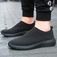 Women Sneakers 2019 Knitted Casual Slip On Female Flat Shoes Mesh Walking Footwear Women Sneakers Shoes Tenis Feminino Size 45