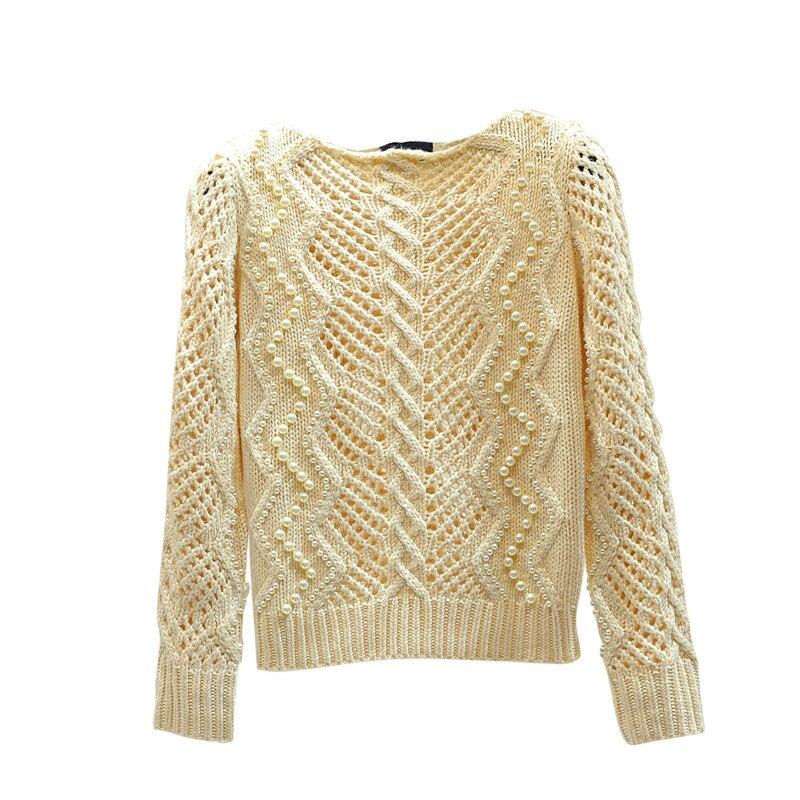 Perle perle creux pull pull pour femmes printemps chandails filles dames tempérament mince tricot manteau hauts tricots automne - 5