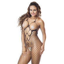 2020 New Sexy Lingerie Women Sexy Halter Fishnet Bodysuit Open Crotch Bodystocking Babydolls Chemises Crotchless Sexy Underwear(China)