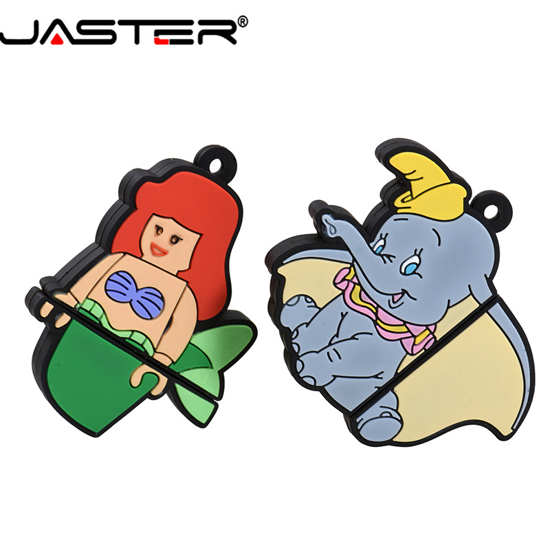 JASTER 2019 New USB 2.0 Cartoon Mermaid Dumbo USB Flash Drive 4GB 8GB 16GB 32GB 64GB 128GB Pendrive Memory Stick Christmas Gift