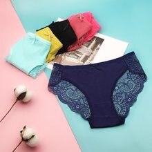 6 pçs/lote roupa interior feminina de algodão sexy rendas cuecas m l xl 9457